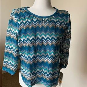 Alfred Dunner  Victoria Falls Zig Zag Knit Top